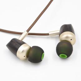 Wholesale Wooden Earphones Wholesale - Wholesale Dual Unit Ebony Wooden Dynamic Headphones Moving Iron HiFi Earphone In-ear Style Headset C3 Free Shipping