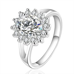Wholesale Pave Flower - Sun Crystal colorful Zircon Diamond Ring romantic Flower Shape water Drop jewelry as Christmas gift Online wholesale