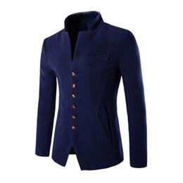 Wholesale Chinese Fashion Tunic - Wholesale- 2016 New Winter Wool Jacket Men Fashion Red Black Navy Single Breasted Chinese Tunic Suit Warm Coats Men jaqueta masculina