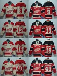 Wholesale Red Wing 13 - 2016 New Brand-Detroit Red Wings 9 howe 13 datsyuk 19 yzerman 40 zetterberg Red Beige Hoodies Jersey Top quality Hockey Jerseys
