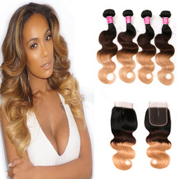 wavy permed hair Promo Codes - peruvian virgin hair with closure body wave 100% human hair unprocessed cheap 8a remy hair blonde weave wavy 1b 4 27 10-26 inch 4 pieces