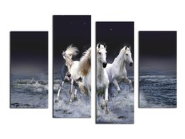 Wholesale Horse Abstract Wall Oil Paintings - 2016 Hot Sell 4 panel Running Horse Large HD Decorative Art Print Painting On Canvas For Living Room Wall Paintings Pictures