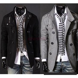 Wholesale Men S Slim Stylish Coat - 2016 c's Gray Slim Hot Stylish Woolen Jacket Double Pea Trench Coat Fashion Jackets 3300