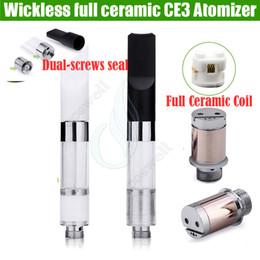 Wholesale E Cig Newest - Newest full Ceramic coils Wickless cartridges vaporizer 510 o pen ce3 BUD Touch thick oil CO2 Tank vape e cig cigarettes atomizers vapor DHL