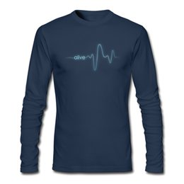 Wholesale Guy Shirts - Fantastic design boy's long-sleeve t-shirt simple cool art electrocardiogram printed tshirt street guys popular top wear Alive