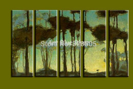 Wholesale Cheap Huge Wall Art - 5 piece muti panel canvas wall art cheap large abstract wall huge tree handmade picture oil painting living room decoration