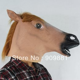 Wholesale Creepy Cute - Halloween Creepy Horse Latex Full Head Mask Fur Mane Realistic Crazy Rubber Cute Party Cosplay Costume Masquerade Animal Masks