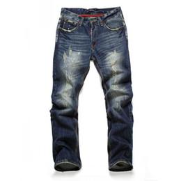 Wholesale Casual Blue Jeans Mens - Wholesale-New Famous Brand Vintage Men designer Casual Hole Ripped Jeans Mens Fashion Skinny Denim Pants cotton Male Trouser 28-40