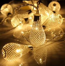 Wholesale Mesh Fairy Lights - LED Silver Filigree Metal Mesh Water Drop AC 110 220V Fairy Lights 20LED Metal Drip String Lights for Patio Wedding Party