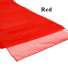 10 pz / lotto spedizione gratuita wedding runner di alta qualità 30x275 cm cristallo organza tessuto bandiera da tavolo corridori per hotel matrimonio matrimonio decor da