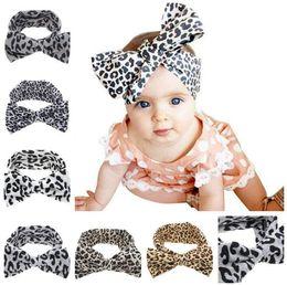 Wholesale Big Bow Hairband - Baby Girls Kids Soft Stretch headband Big Bow Turban Bowknot Hairband Leopard Head Wrap Hair Band Accessories