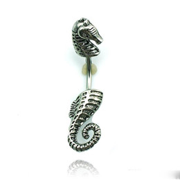 Wholesale Horse Belly Rings - Body Jewelry Fashion Belly Button Rings 316L Stainless Steel Barbell Retro Black Sea Horse Navel Piercing Jewelry