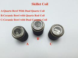 Wholesale Ego Replacement - Quartz Tube Wax Coil For Skillet Atomizer Quartz Bowl Dual Quartz replacement double coil skillet quartz Coil atomizer Ego D vaporizer