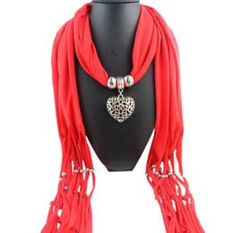 Wholesale Solid Gold Necklace Gemstones - Wholesale-New Design 180*40CM Women Winter Heart Gemstone Necklace Solid Scarf Lady Tassel Warm Scarves N17