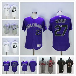 Wholesale Double Outlet - Double Stitched Mens #27 Trevor Story Colorado Rockies White Grey Purple Gray Fashion Stars Majestic MLB Baseball Jerseys Outlets Store