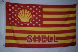 Wholesale Custom Gas - Shell Gas Advertising Promotional Banner Flag City Country banner Flag Custom Football Hockey Baseball any Team House Divided Flag