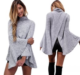 Wholesale Cheap Plaid Short Sleeve Shirts - Autmn Winter 2017 Stylish Womens Tops Flared Bell Sleeve High Neck Knit Shirt Long Sleeve Shirt Women cheap in stock LC25940