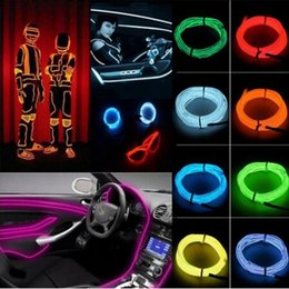 Wholesale Led Flexible Car Lights - 1M 2M 3M 5M 3V Flexible Led Neon Light Glow Wire Rope Tape Cable Neon Lights Shoes Clothing Car Interior Waterproof led Strip