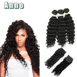 Wholesale Sale Weave - Brazilian Deep Wave With Closure Virgin Brazillian Hair 3 Bundles With Closure 7a Hair Company On Sale