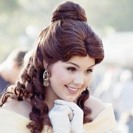 Wholesale Halloween Party Wigs - Adult Belle Wig Beauty and The Beast Cosplay Brown Wig Princess Belle Party Halloween Women Wholesale