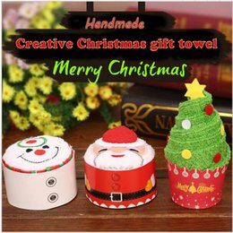 Wholesale Towel White Hands - 30x30cm Christmas Gift Towel Christmas Ornament Tree Santa Claus Christmas Snowman White Green Red 5pcs Each Bag 2017