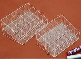 Wholesale Wholesale Makeup Display Stand - Clear Acrylic 24 Lipstick Holder Display Stand Cosmetic Organizer Makeup Case Transparent Three Layers Acrylic Products Display Rack