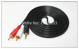Wholesale Rca Av Hdmi Cable - Stereo Audio 3.5mm Male Jack to AV 2RCA Audio Cable 3.5mm to 2 RCA , 200PCS LOT Free Shipping By Fedex #RED001