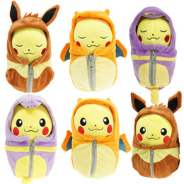 Wholesale Cartoon Anime Dolls - Poke Pikachu Cosplay Charizard Eevee Robe Sleeping Bag Ekans Plush Toys Cartoon Fashion Toys Plush Dolls 25cm
