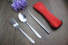 Wholesale Metal Dinner Forks - Traveling Camping Picnic Dinner Spoon Fork Chopsticks Spork Cutlery Tablewares Convenient 240sets Free DHL Fedex