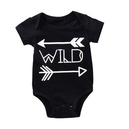Wholesale Tutu Rompers For Girls - High Quality Baby Rompers Boy Girl Cotton O-neck Bodysuit Newborn Infant Arrows Black Romper Wild Letter Printed Jumpsuit Gift for 0-18M