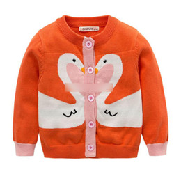 Wholesale Children Design Sweater - Kids knitting sweater baby Girls Swan design single-breasted cardigan Autumn Children long sleeve round neck outwears Kids clothes