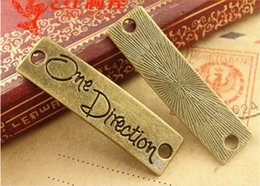 Wholesale One Direction Connector - A3884 11*40MM Antique bronze One Direction English plate links retro jewelry wholesale, vintage word connector charms message pendants
