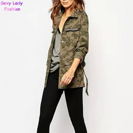 Wholesale Women S Military Trench Coat - Wholesale-Vintage Military Camouflage Lapel Collar Cardigan Cotton Trench Women Beading Pockets Long Sleeve With Sashes Mid Long Coat Tops