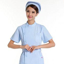 82c3f5ef550 Chinese Nurse summer wear short sleeve pink white blue uniform Hospital  pharmacy antibacterial anti-wrinkle