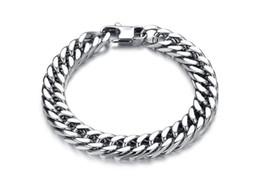 Wholesale Silver Bracelet Long - Silver Plated Titanium Stainless Steel Luxury Bracelet Stylish Simple Punk Design Man Link Chain Bracelets 19cm 20cm 21cm 22cm Long Bracelet
