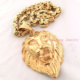 """Wholesale Mens Lion Head Necklace - Classical Jewelry Gift Large Stainless Steel Biker Gold Lion Heads King Pendant Mens' Necklace With Free Gold 23.6"""" Link chain"""