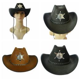 antiguo occidental Rebajas Sombrero de vaquero de estrella de cinco puntas Sombrero de vaquero retro de American Western Knight Cap Sombrero de Fedora Cap Cosplay de Halloween 200pcs OOA2743