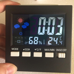 Wholesale Digital Room Thermometer Clock - Clocks Multi Function Weather Forecast Temperature Humidity Gauge Alarm Clock Voice Control Digital LCD Screen Indoor Sensor 16sn F R