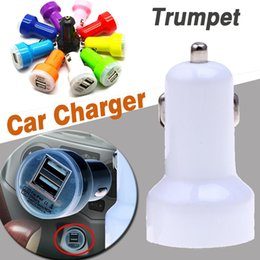Wholesale Trumpet For Iphone - Dual USB Car Charger Universal Trumpet Buglet Mini Universal Power Adapter Passthrough For iPhone X 8 7 Plus Samsung Note 8 S8 iPad iPod
