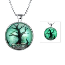 Wholesale Horror Charms - Unisex Horror Old Tree Skull Round Pendant Punk Style Noctilucence Glowing Necklace Glow in Dark with Silver Plated Popcorn Chain 24inch