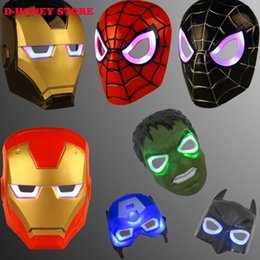 Wholesale Led Lights For Halloween Masks - Hot Kids Toy The Avengers Super Hero Transformers LED Eye Light Full Face Mask Masquerade Cosplay Helmet Costume Halloween plastic masks