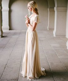 Wholesale Slim Fit Wedding Dresses - Modest Wedding Dress with Flutter Sleeve Slim Fitted Scoop Neck A-line Champagne Vintage Bridal Gowns Outdoor Beach Bride Dresses Simple New