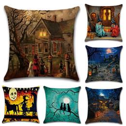 45x45 cm Bruja de Halloween Funda de Almohada Funda de Almohada Funda de Almohada de lino de algodón Home Throw Pillow Case regalo de Navidad desde fabricantes