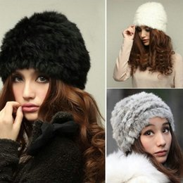 Wholesale Cheap Acrylic Hair - Cheap wholesale fashion hat lady rabbit hair knitted cap hat in autumn and winter fur hat