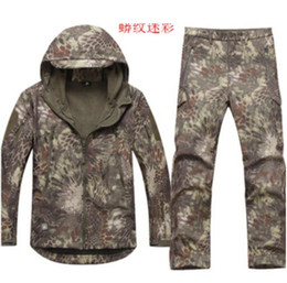 Wholesale Camouflage Waterproof Hunting Jacket - Fall-New Spring&Autumn men tree camouflage waterproof windproof softshell jacket pants outdoor hunting climbing suits