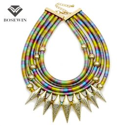 Wholesale vintage collar necklaces - Indian Multilayer Bib Collar Vintage Maxi Necklace Women New Statement Jewelry Neon Multicolor Big Choker Accessories CE4047