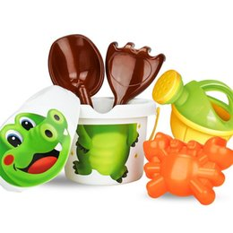 Wholesale Sand Buckets Beach Toys - Wholesale- Cartoon Tiny Beach Sand Tools Toys Bucket Set Children Outdoor Toys Z818
