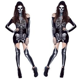 Wholesale Cool Dresses For Women - Cosplay Cool Living Dead Skeleton Costume off shoulder Black Skeleton Dress Ghost Costume Stage Uniform Halloween Costumes for Women
