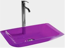 Wholesale rectangular wash basins - Rectangular Bathroom Resin Acrylic Counter Top Sink Vessel Solid Surface Stone Coakroom Colored Wash Basin 3859