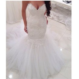 Wholesale Sequin Fit Flare Dress - 2017 Fit And Flare Wedding Dresses Tulle Appliques Lace Sexy V-neck Bridal Gowns Mermaid Style Vestidos De Novia
